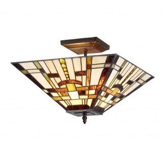 Tiffany Style Mission Design 2-Light Indoor Flush Mount