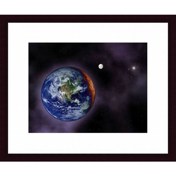 'The Earth shown at the outer edges of the known solar system' Framed Print