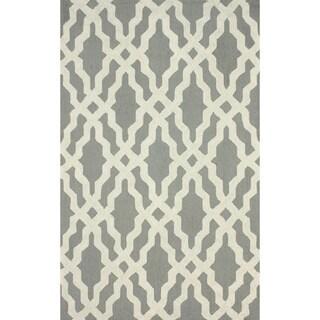 nuLOOM Hand-hooked Grey Wool Rug (7'6 x 9'6)