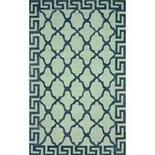nuLOOM Hand-hooked Grey/ Blue Wool Rug (7'6 x 9'6)
