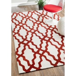 nuLoom Hand-hooked Red/ Off-white Wool-blend Rug (7'6 x 9'6)