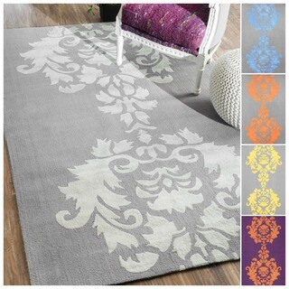 nuLOOM Hand-hooked Light Grey Wool Rug (7'6 x 9'6)