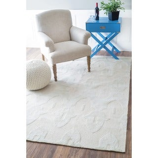 nuLOOM Hand-hooked Light Grey Wool Rug (7'6 x 9'6)