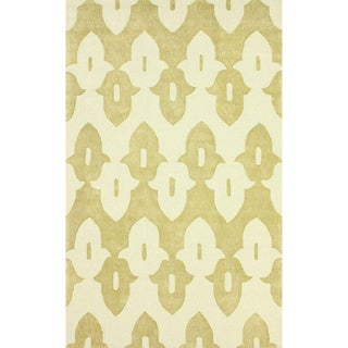 nuLOOM Hand-hooked Gold/ Off-white Wool-blend Rug (5' x 8')