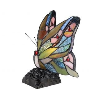 Tiffany-style Butterfly-design Night-light Multicolored Accent Lamp