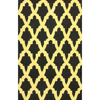 nuLOOM Hand-hooked Black/ Gold Wool-blend Rug (6' x 9')
