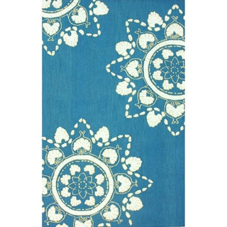 nuLOOM Hand-hooked Blue Wool-blend Rug (7'6 x 9'6)