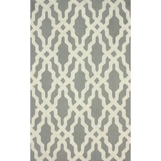 nuLOOM Hand-hooked Grey/ Off-white Wool-blend Rug (6' x 9')