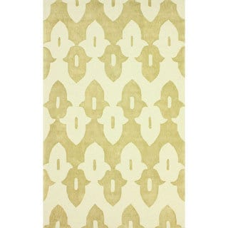 nuLOOM Hand-hooked Gold/ Off-white Wool-blend Rug (6' x 9')