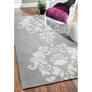 nuLOOM Hand-hooked Light Grey Wool Rug (6' x 9')