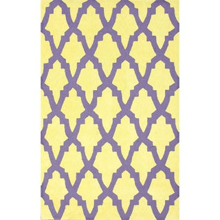 nuLoom Hand-hooked Purple/ Yellow Wool-blend Rug (5' x 8')