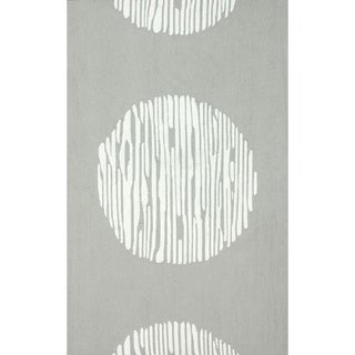 nuLOOM Hand-hooked Light Grey/ White Wool-blend Rug (5' x 8')