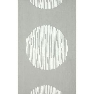 nuLOOM Hand-hooked Light Grey/ White Wool-blend Rug (5' x 8')