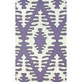 nuLoom Hand-hooked Purple/ Grey Wool-blend Rug (5' x 8')
