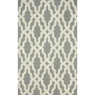 nuLOOM Hand-hooked Grey/ White Wool-blend Rug (3'6 x 5'6)