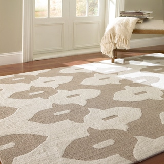 nuLoom Hand-Hooked White Wool Rug (3'6 x 5'6)