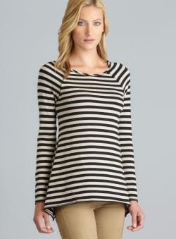 Andrea Jovine Oatmeal Ribbon Back Detail Raglan Sleeve Striped Top