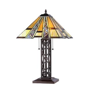 Tiffany Style Mission Design 2-light Yellow Table Lamp