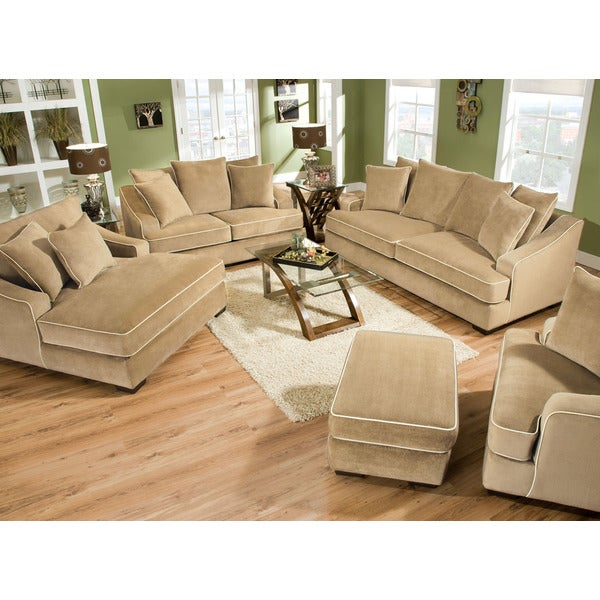 brighton taupe 3 piece chaise and sofa set overstock