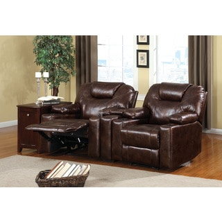 Davos Dark Brown Recliner Set with Cup Holders