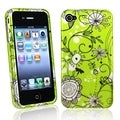 BasAcc Green Flowers Rubber Coated Case for Apple iPhone 4/ 4S