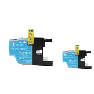 INSTEN 2-ink Cyan Cartridge Set for Brother LC75 C/ LC-71 C