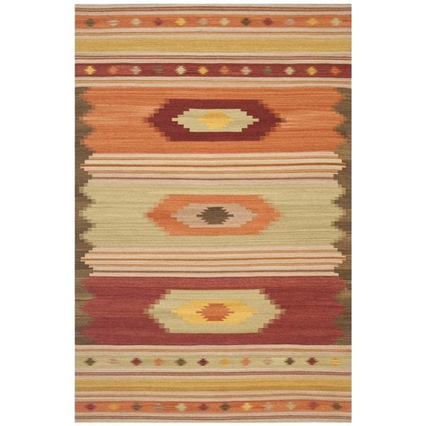 Safavieh Hand-woven Kilim Brown Wool Rug (5' X 8