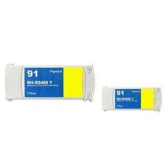 INSTEN HP 91 Yellow Ink Cartridge for HP 91 (Remanufactured) (Pack of 2)
