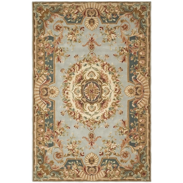 Safavieh Handmade Savonnerie Blue/ Dark Blue Wool Rug (8' x 10')