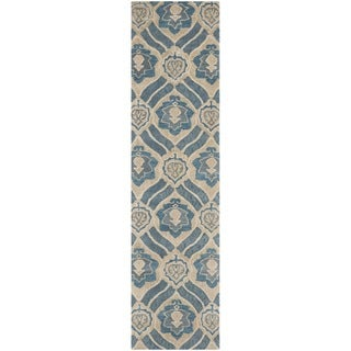 Safavieh Handmade Wyndham Blue/ Grey Wool Rug (2'3 x 7')