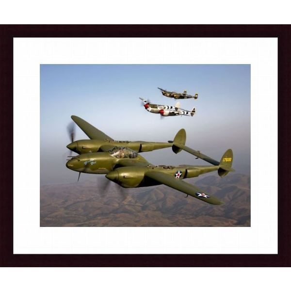 'Three Lockheed P-38 Lightnings in flight' Framed Print