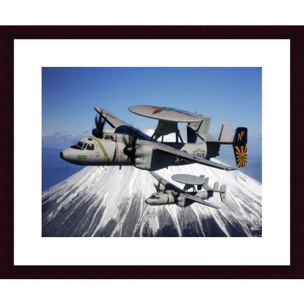 'Two E-2C Hawkeyes conduct a flyby of Mount Fuji in Japan' Framed Print