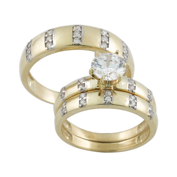 10k gold cubic zirconia matching his and hers bridal style ring set