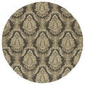 Indoor/Outdoor Fiesta Chocolate Damask Rug (7'9 Round)