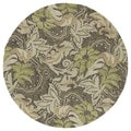 Indoor/Outdoor Fiesta Green Leaves Rug (7'9 Round)