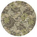 Indoor/Outdoor Fiesta Green Leaves Rug (5'9 Round)