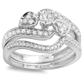10k White Gold 3/4ct TDW 3-Piece Diamond Bridal Set (H-I, I1-I2)