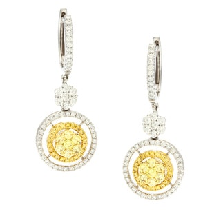 18k Gold 1/2ct TDW Yellow and White Diamond Earrings (G-H, VS1-VS2)