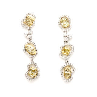 Kabella Luxe 18k White Gold 2 ct TDW Yellow Diamond Earrings