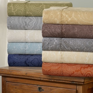 Italian Paisley 600 Thread Count Cotton Blend Deep Pocket Sheet Set and Pillowcase S