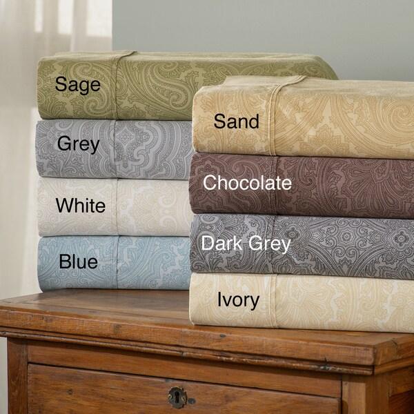Luxor Treasures Italian Paisley 600 Thread Count Cotton Blend Deep Pocket Sheet Set and Pillowcase S