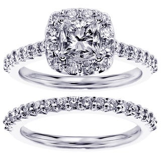 Platinum or 14k White Gold 1.8ct TDW Halo Princess-cut Diamond Bridal Set (F-G, SI1-SI2)