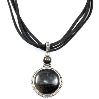 Black Agate Pendant Necklace on Suede Cords (China)