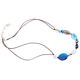 Blue Agate on Short Brown Suede Cord Necklace (China)