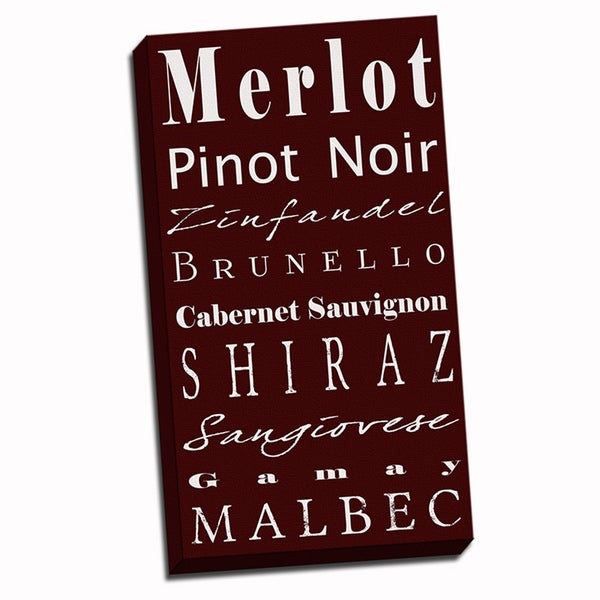'Red Wine Typography' Wall Art