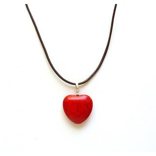 Every Morning Design Red Turquoise Heart and Leather Necklace