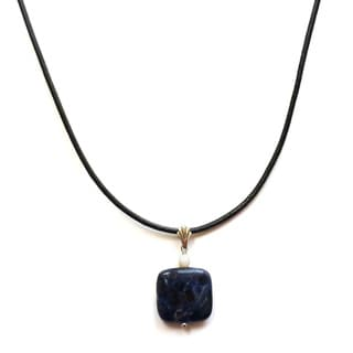 Every Morning Design Sodalite Pendant and Leather Necklace