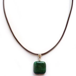 Every Morning Design Green Jade and Brown Leather Necklace