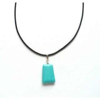 Every Morning Design Turquoise Trapezoid and Leather Necklace