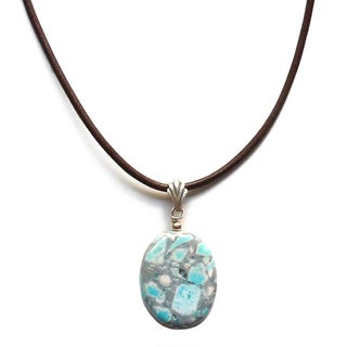Every Morning Design Blue and Grey Turquoise Drop Necklace